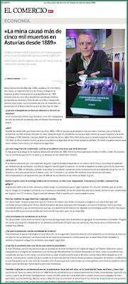 Artículo en el Comercio sobre el libro Catástrofes Mineras de Mario García Antuña