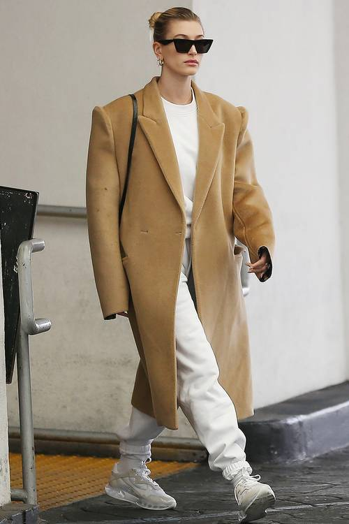 Hailey Bieber Neutral Outfit Oversized Camel Coat And Sweats