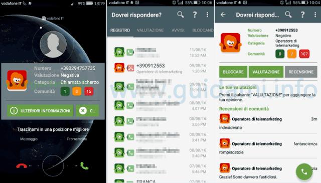 App Android Dovrei rispondere notifica valutazione numero telefono