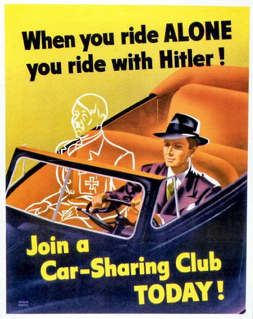 WW2 poster showing man driving car with ghostly Hitler in passenger seat.
