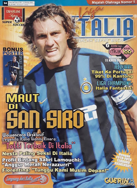 CHRISTIAN VIERI OF INTER MILAN ON FOOTBALL MAGAZINE