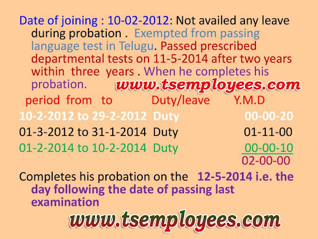 AP Telangana Probation Rules AP Telangana State and Subordinate Service Rules Probation AP TS state and subordinate service rules 1996 probation probationers rules probation period time probation extension probation declare forms probation rules in telugu A decision as to extend/suspend or discharge from service should be taken within 8 week on expiry of probation period. If no such order is passed with in one year of expiry of probation period, such employee be deemed to have satisfactorily completed the period of probation and a formal order should be issued probation calculation
