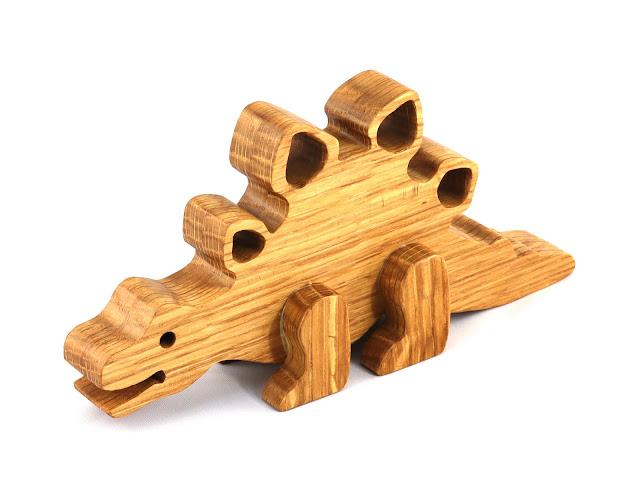 Handmade Wooden Toy Dinosaur Stegosaurus