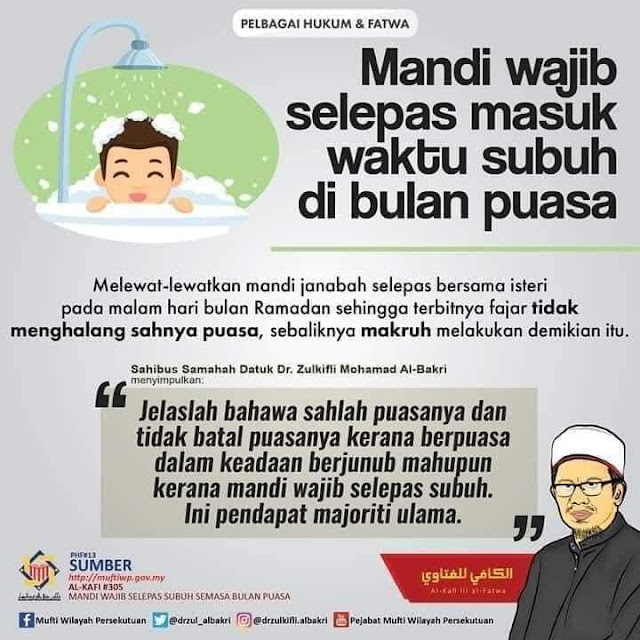 adakah mandi wajib selepas waktu Subuh di bulan Ramadan membatalkan puasa