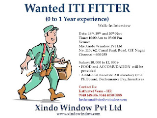 ITI Fitter Job Vacancy Direct Walk In Interview For Xindo Window Pvt Ltd Interview On 18th 19th and 20th Nov 2020