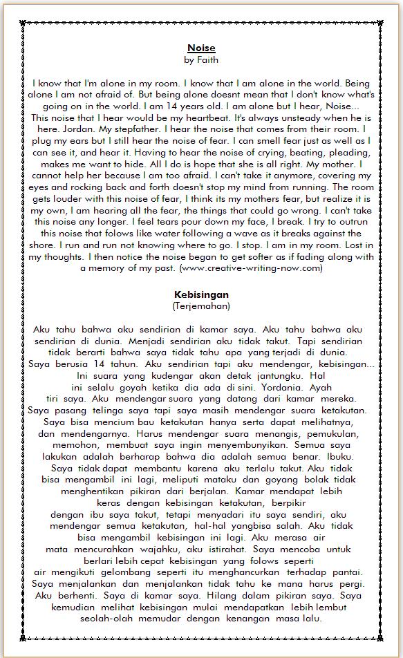 contoh cerpen bahasa inggris dan terjemahannya