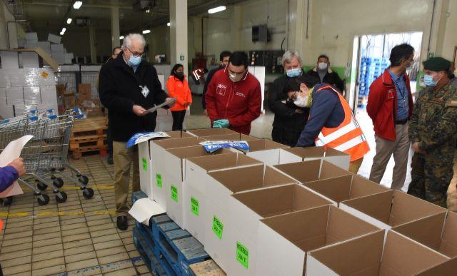 Autoridades visitaron centro de acopio de distribución de cajas de alimentos
