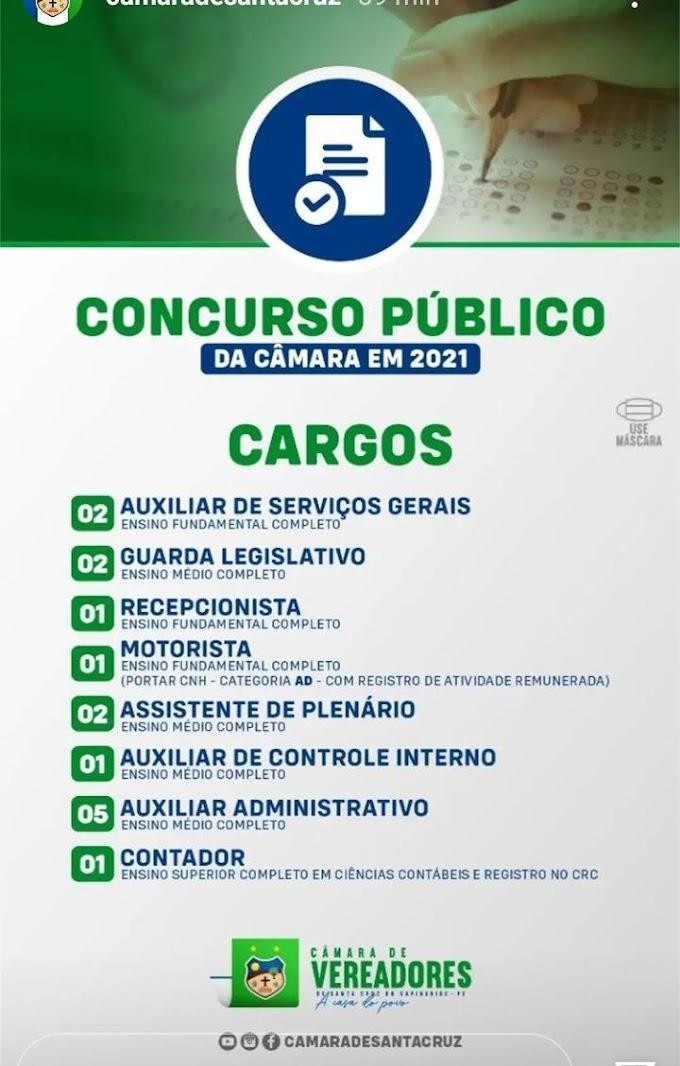 Câmara de Vereadores de Santa Cruz divulga vagas disponíveis no Concurso Público
