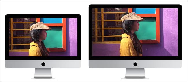 Apple iMac بحجم 21 بوصة يجلس بجوار Apple iMac بحجم 27 بوصة.