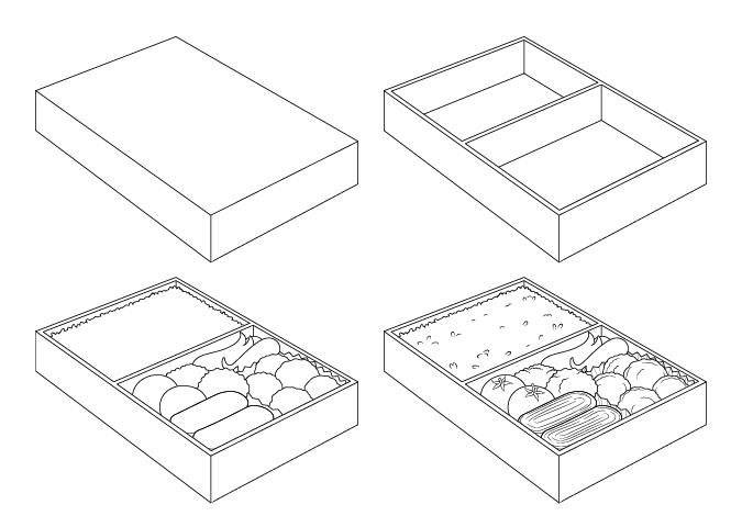 Makanan anime di kotak makan siang menggambar selangkah demi selangkah