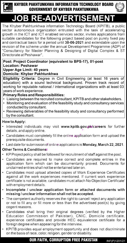 Latest Jobs in Khyber Pakhtunkhwa Information Technology BOARD  KPITB