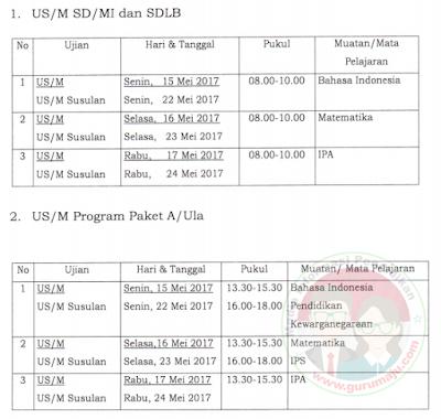 Jadwal Dan POS US SD/MI Tahun Pelajaran 2016/2017
