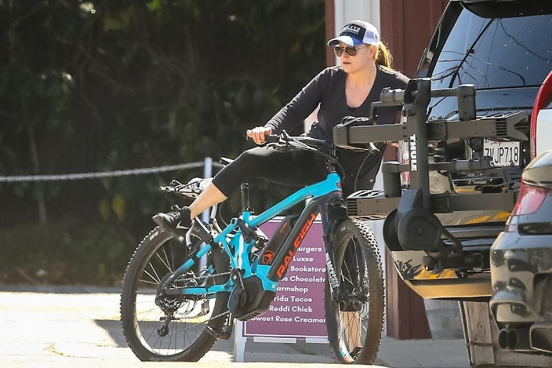 Heather Milligan Outside Riding Bike in Brentwood 3 May -2020