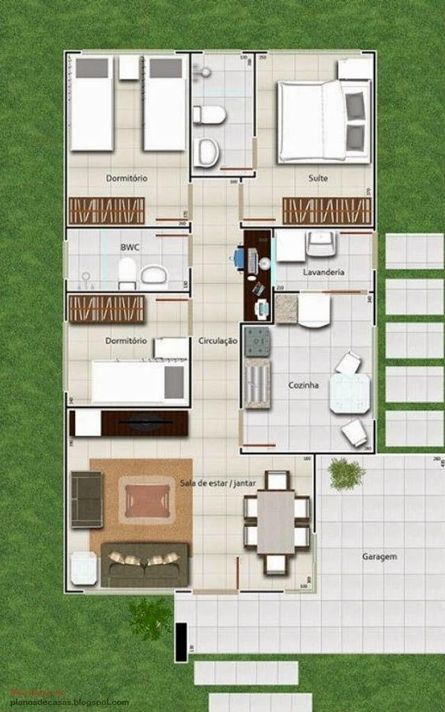 Plano de casa moderna de 93 m2 planos de casas gratis y for Casa moderna 60 m2