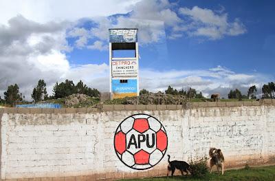 APU Painted on Buildings between Chinchero and Cusco.