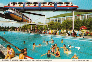 Butlin's Minehead - Monorail over Outdoor Swimming Pool by John Hinde Studios. Postally unused. Undated