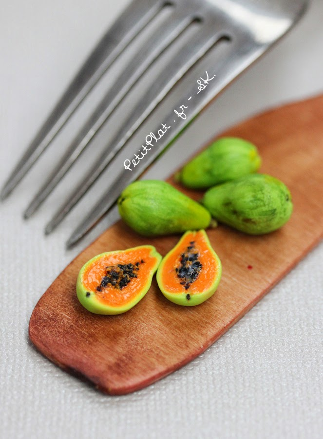 Papaya, Miniature Food Art, Veggies and Fruit by Stephanie Kilgast
