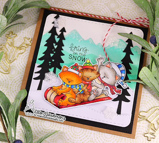 Sledding Kitties card by Ellen Haxelmans | Newton's Toboggan Stamp Set, Mountains Stencil, Frames Squared Die Set and Forest Scene Builder Die Set by Newton's Nook Designs #newtonsnook #handmade