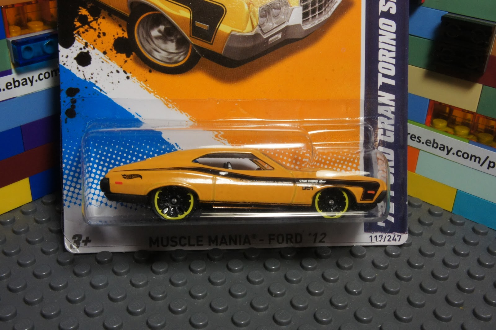 Hot Wheels Yellow '72 Ford Gran Torino Sport Diecast Muscle Mania Ford '12 7 10