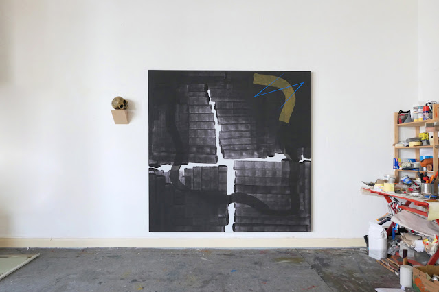 "Michel Carmantrand CARTHAGO DELENDA EST, 185x185cm (72.8x72.8""), gesso, pigments acrylic and oil paint on canvas."