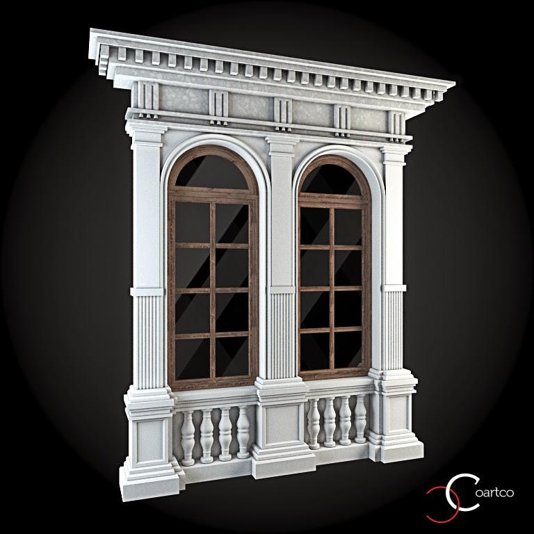 Ornamente Geamuri Exterior, Arcada fatade case cu profile decorative polistiren, profile fatada,  Model Cod: WIN-052