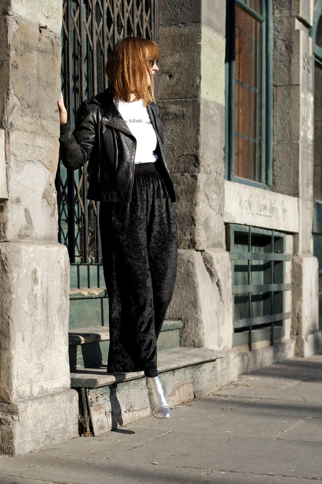 Velvet wide leg trousers rock and roll outfit