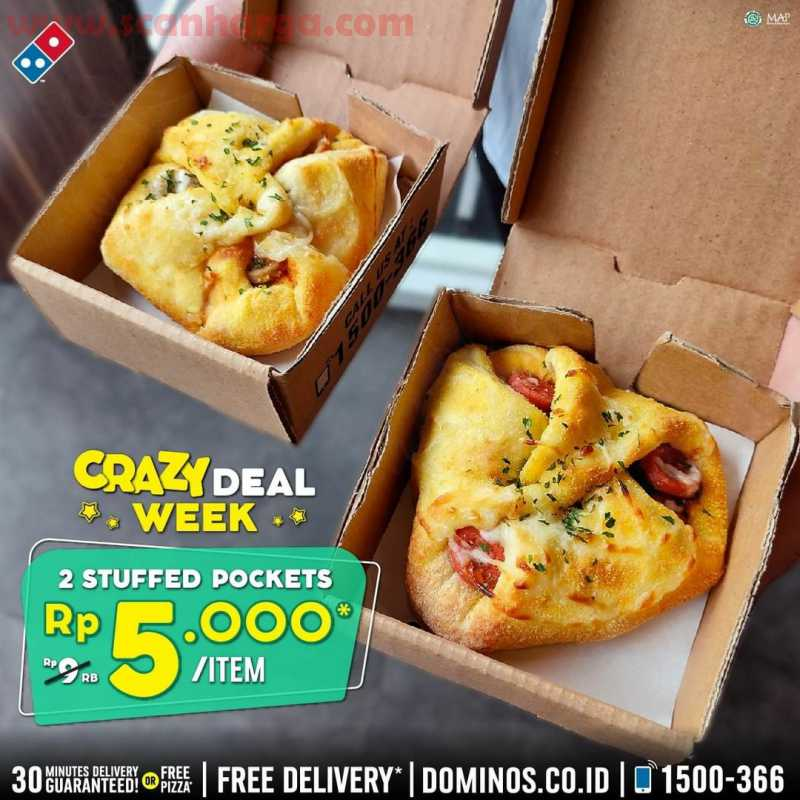Dominos Pizza Promo 2 Tasty Stuffedf Pocket CUMA Rp. 5.000,-