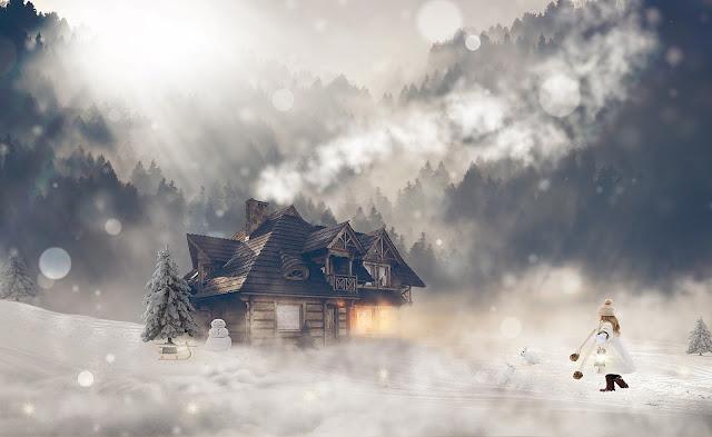 بيت جميل وسط الجليد