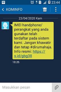 pesan sms dari kominfo tentang IME hp