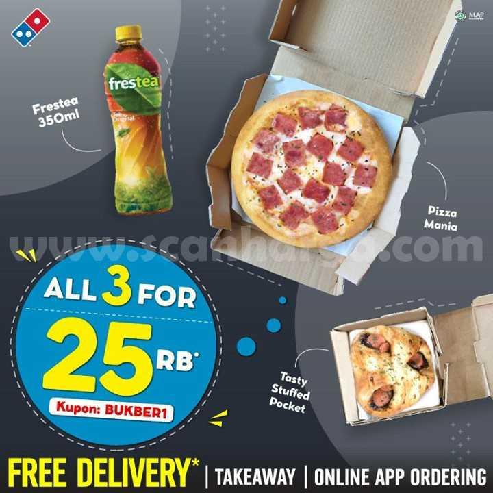 Promo Dominos Pizza ALL 3 FOR 25RIBU - Beli Pizza Mania + Tasty stuffed Pocket + Frestea cuma Rp 25.000 berlaku sampai 24 Mei 2021.