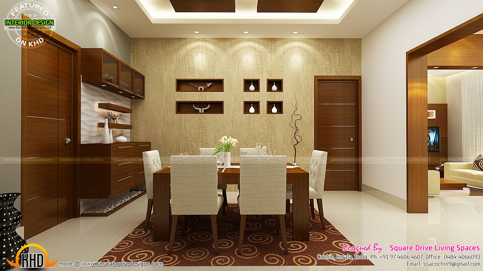 Contemporary kitchen dining and living room kerala home for Small hall interior design photos india