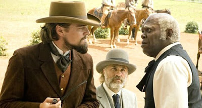 Leonardo DiCaprio as Calvin Candie, Samuel L. Jackson as Stephen, Christoph Waltz as Dr. King Schultz, Django Unchained, Directed by Quentino Tarantino
