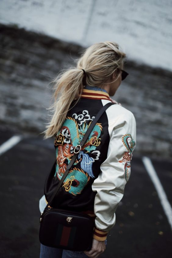 Happily Grey Embroidered Varsity Bomber Jacket