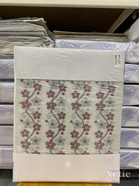 Hotfix stickers dmc rhinestone aplikasi tudung bawal fabrik pakaian bunga 3 kuntum