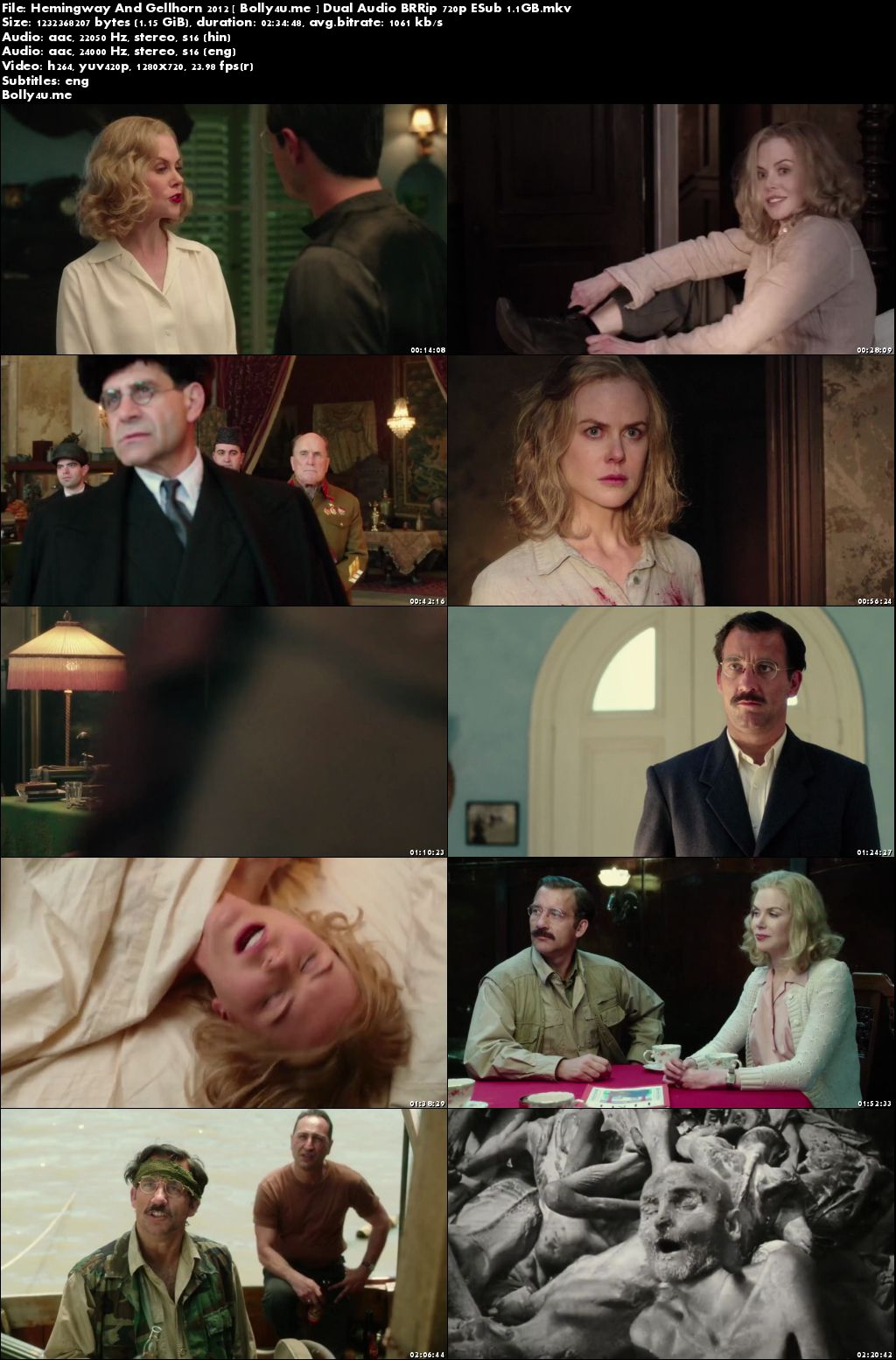 Hemingway And Gellhorn 2012 BRRip Hindi Dual Audio 720p ESub Download