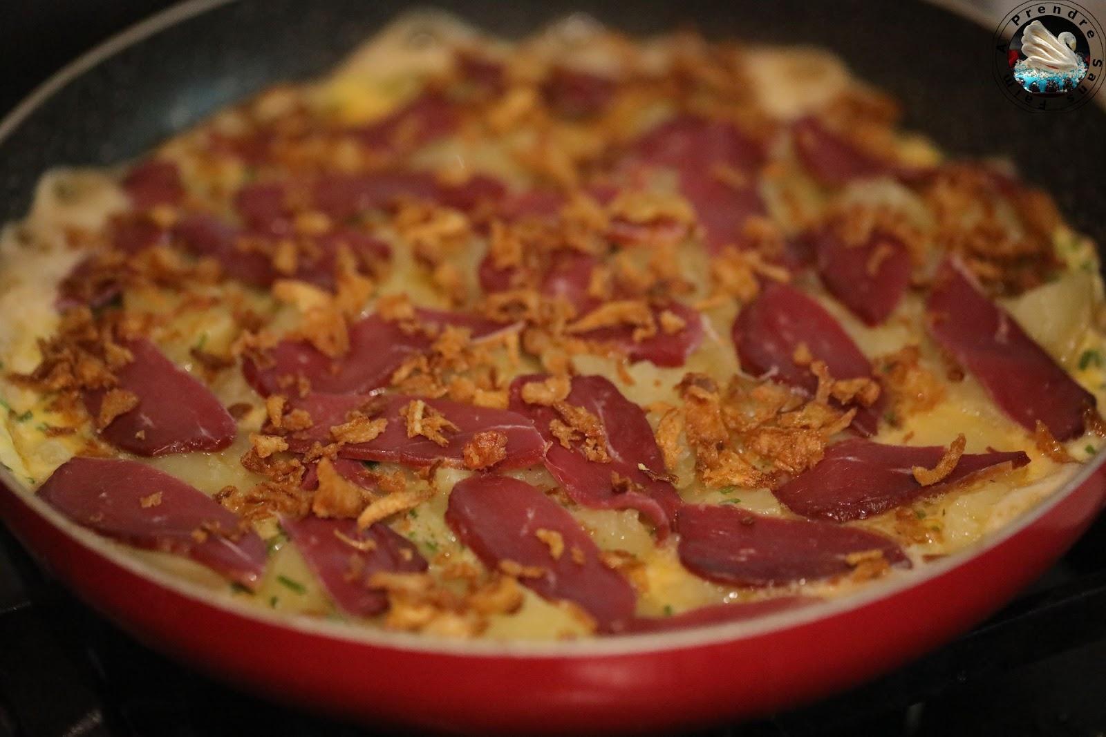 Omelette au magret de canard fumé