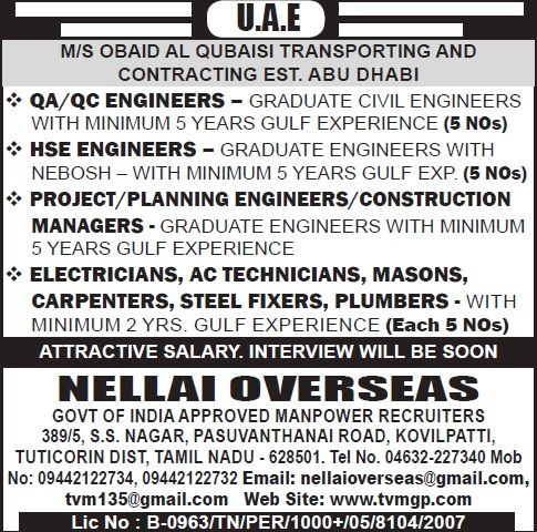 UAE Jobs, QA/QC Jobs, HSE Engineer, Project Engineer, Planning Engineer, Construction Manager, Electrician, AC Technician, Construction Jobs, Nellai Overseas