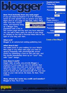 Se connecter à Blogger en 1999