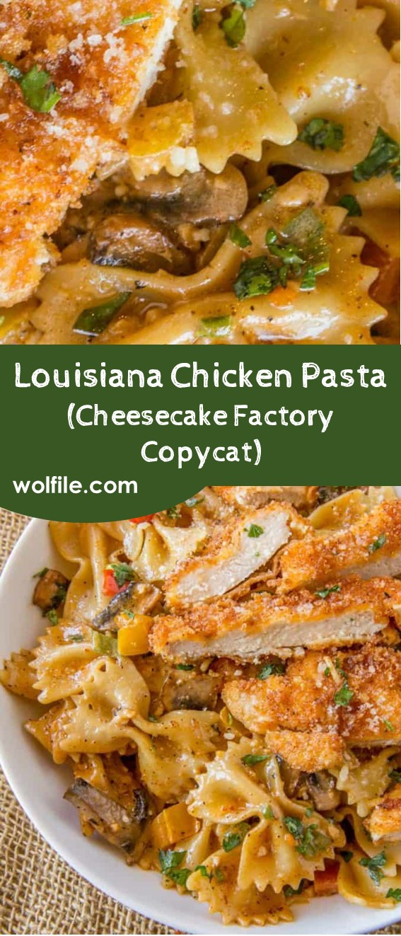 Louisiana Chicken Pasta (Cheesecake Factory Copycat) #Chicken #Pasta #Mushroom #Cajun