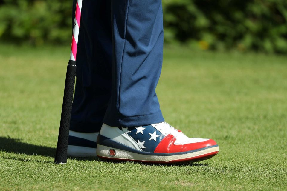 b1b66eec4279 Bubba Watson (United States) played the final round of men s golf wearing  Stars and Stripes.