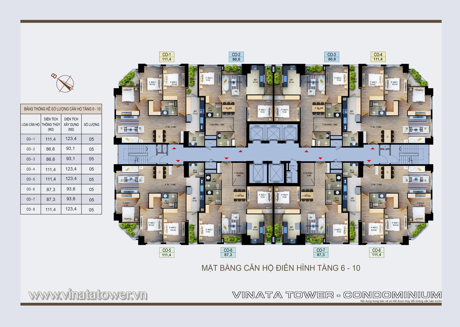Mặt bằng điển hình tầng 6 - 10 của dự án Vinata