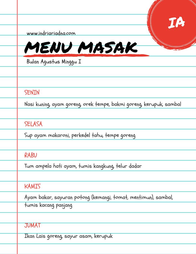 template jadual masak