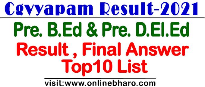 Cgvyapam Pre. B.Ed And Pre. D.El.Ed Result 2021 :  छग व्यापम ने जारी किया प्री बीएड और प्री डी एल एड का रिजल्ट ,फाइनल उत्तर और टॉप 10 लिस्ट - यहाँ से चेक करें रिजल्ट