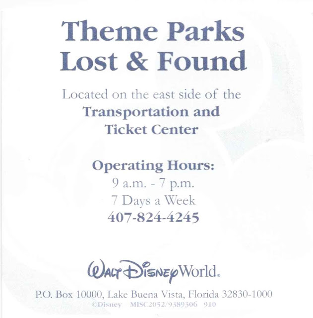 Theme Parks Lost and Found Walt Disney World Hours and Contact Info