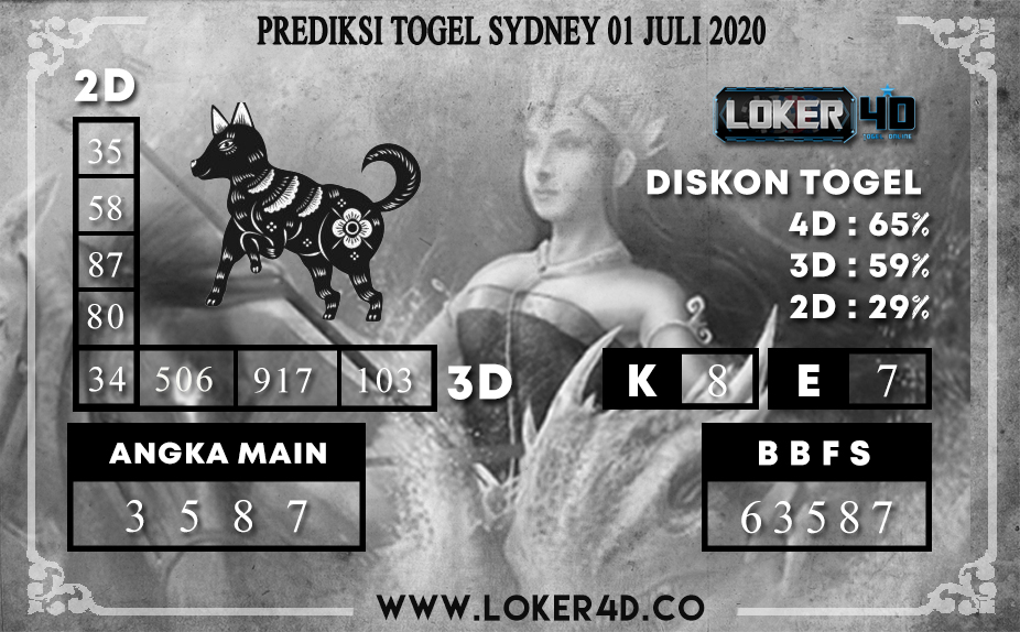 PREDIKSI TOGEL LOKER4D SYDNEY 01 JULI 2020