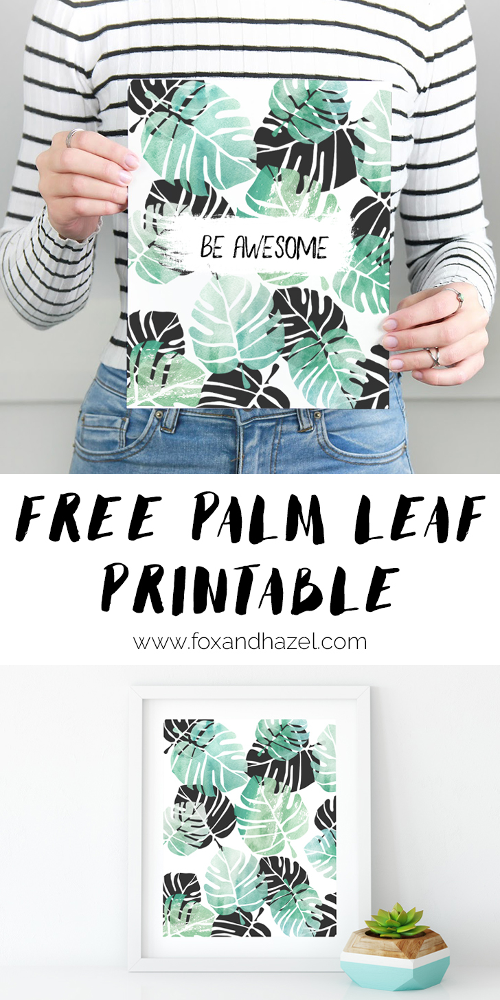 Free Black Green Tropical Leaf Art Print Fox Hazel