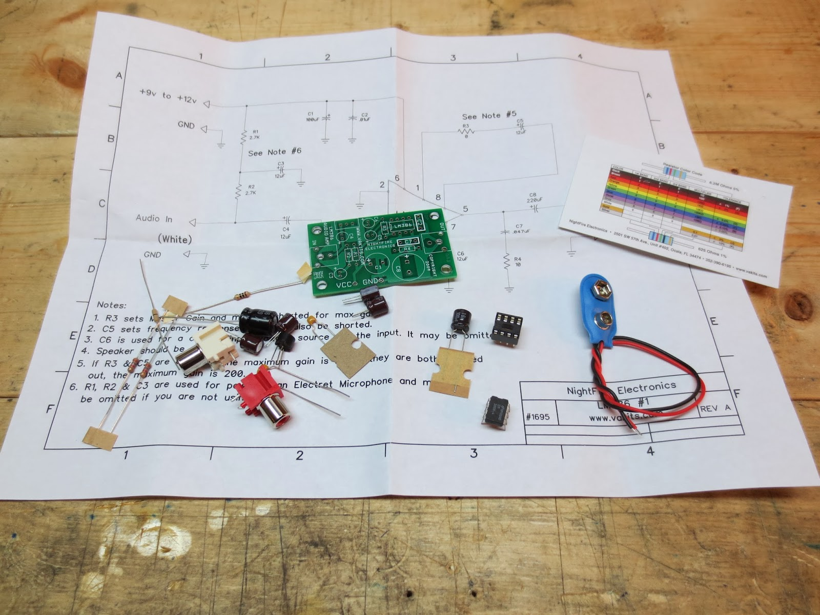 medium resolution of the kit came with a schematic and some notes about options for the amplifier circuit ricks cigar box guitars