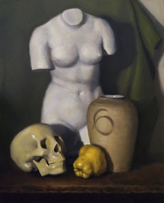 Still life oil painting of a quince, a plastic skull, a vase and a plaster cast of a female torso.