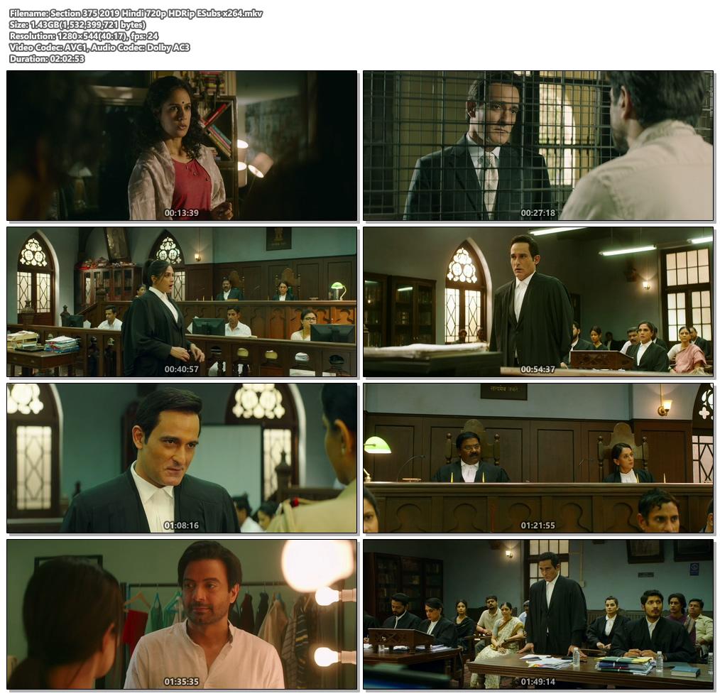 Section 375 2019 Hindi 720p HDRip ESubs x264 | 480p 300MB | 100MB HEVC Screenshot