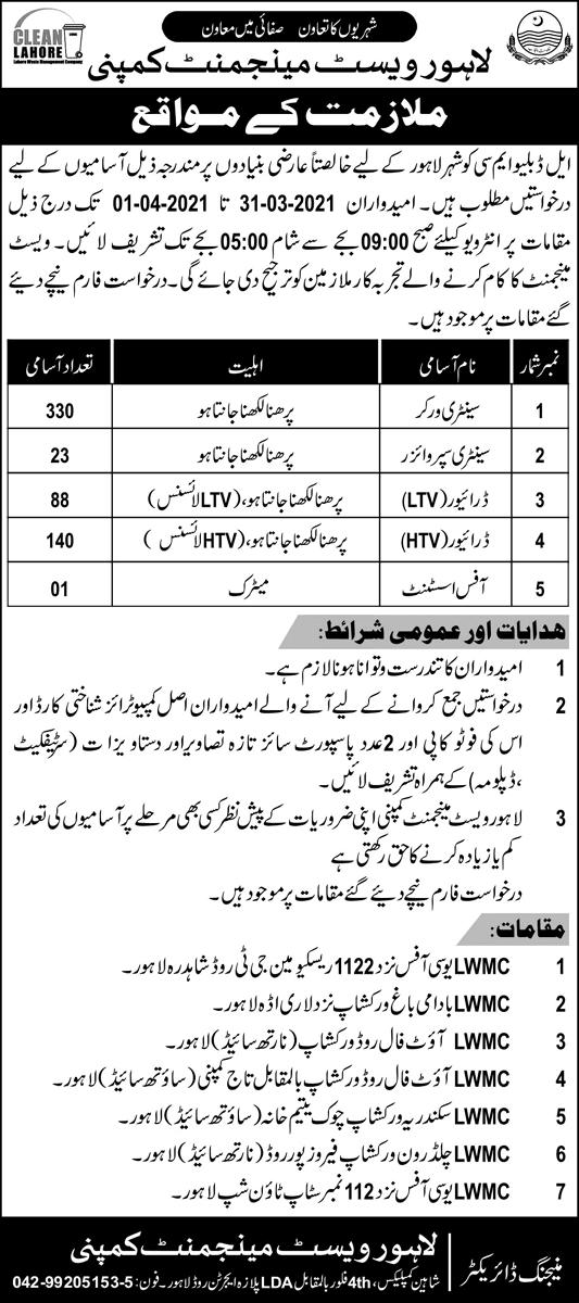 Lahore Waste Management Company Jobs 2021 - LWMC Jobs 2021 - LWMC Jobs Application Form
